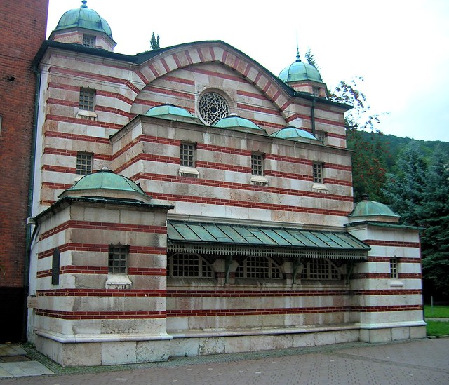 Turkish bath facade, Trenčianske Teplice by bryandkeith on flickr