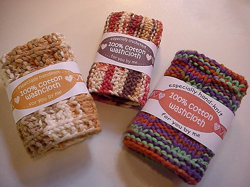 Labels on hand knitted cotton washcloths