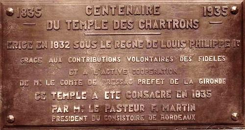 Bordeaux - Temple des Chartrons - Plaque commémorative