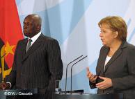 Angolan President Jose Eduardo Dos Santos with Angela Merkel of Germany during a recent visit to Berlin. The German Chancellor visited three African states in July 2011 to discuss energy issues. by Pan-African News Wire File Photos