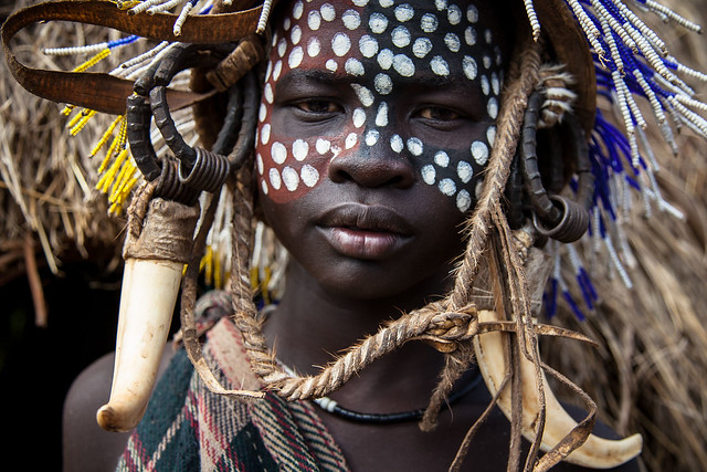Young boy with face painted, Mursi Tribes, Lower Omo Valley, Ethiopia
