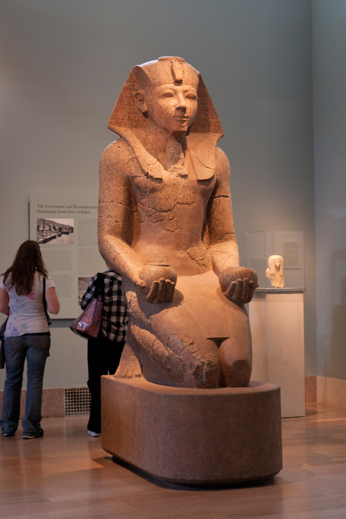 Dynasty 18, joint reign of Hatshepsut and Thutmose III  (ca. 1473-1458 B.C.)  Granite  From Thebes, originally from Hatshepsut's temple at Deir el-Bahri   The Metropolitan Museum allows photo shooting providing there is no financial gain.  Please respect their policy