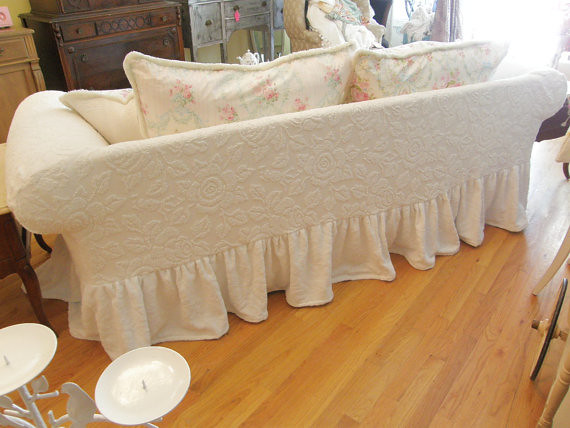 ruffle sofa back slipcover shabby chic chenille bedspread. Black Bedroom Furniture Sets. Home Design Ideas