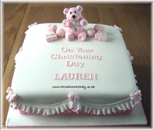 Pink Teddy Amp Footprints Christening Cake Flickr Photo