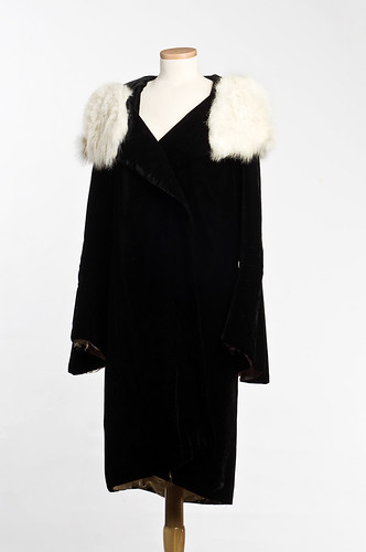 Rabbit-fur trimmed velvet coat