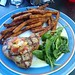 Grill Tuna with fried sweet potatoes and spinach at the Beach House Bar & Grill