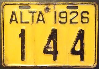 ALBERTA 1926 ---MOTORCYCLE PLATE