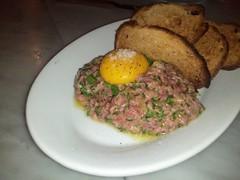 meal(0.0), steak(0.0), produce(0.0), meatloaf(0.0), breakfast(1.0), meat(1.0), steak tartare(1.0), food(1.0), dish(1.0), cuisine(1.0),