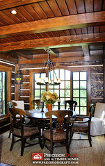 Breakfast Nook | Log & Timber Hybrid Home by PrecisionCraft