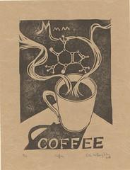 mmm... coffee linocut with caffeine molecule