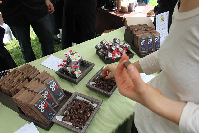 Visitors enjoy lots of tasty samples in the Chile-chocolate Wonderland at the 2011 Chile Pepper Fiesta. Photo by Rebecca Bullene.