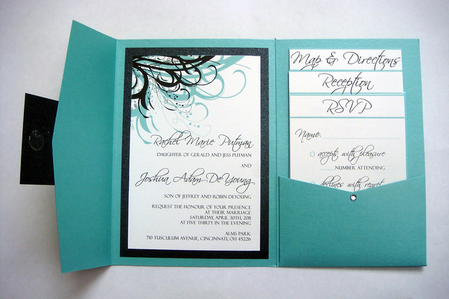Blue Aqua and Black Wedding Invitations