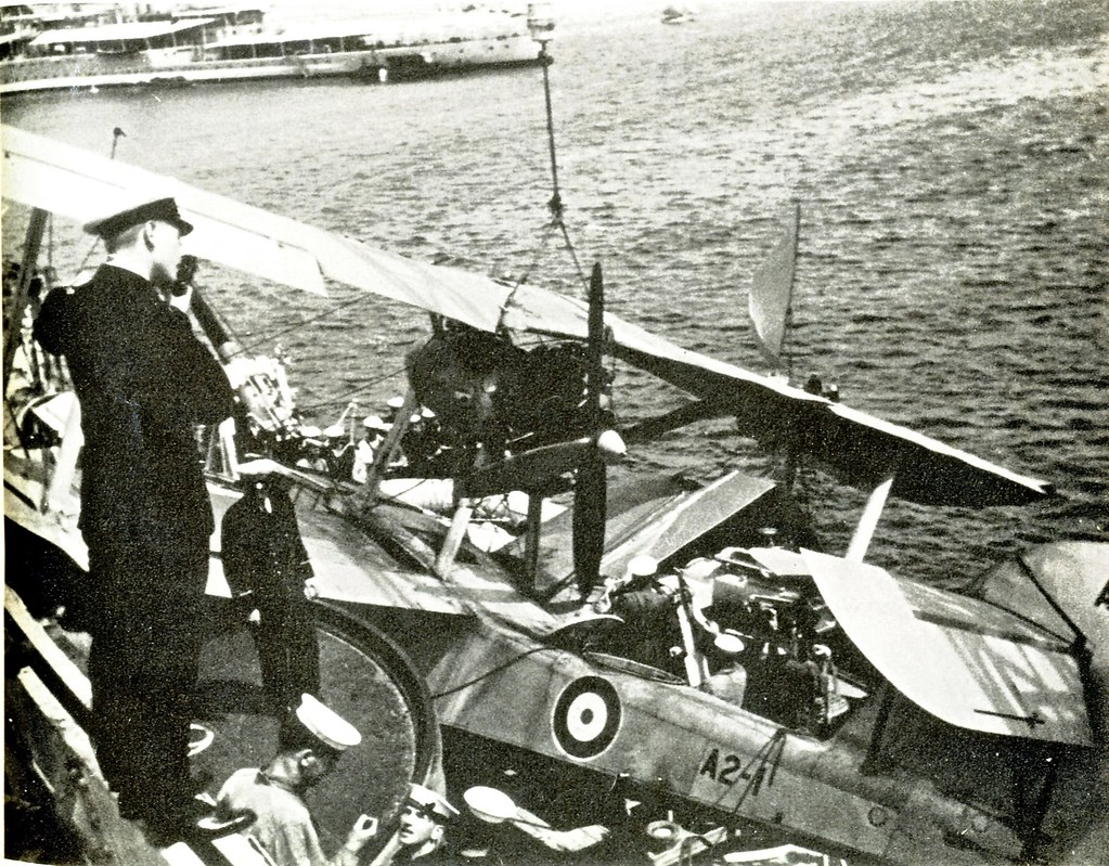 "Mar. 26, 1936: ""The 'Seagull' aircraft met with an unusual accident on the 26th ..."" M.A. Payne 'HMAS AUSTRALIA 1928-1955' - Photo RAN."