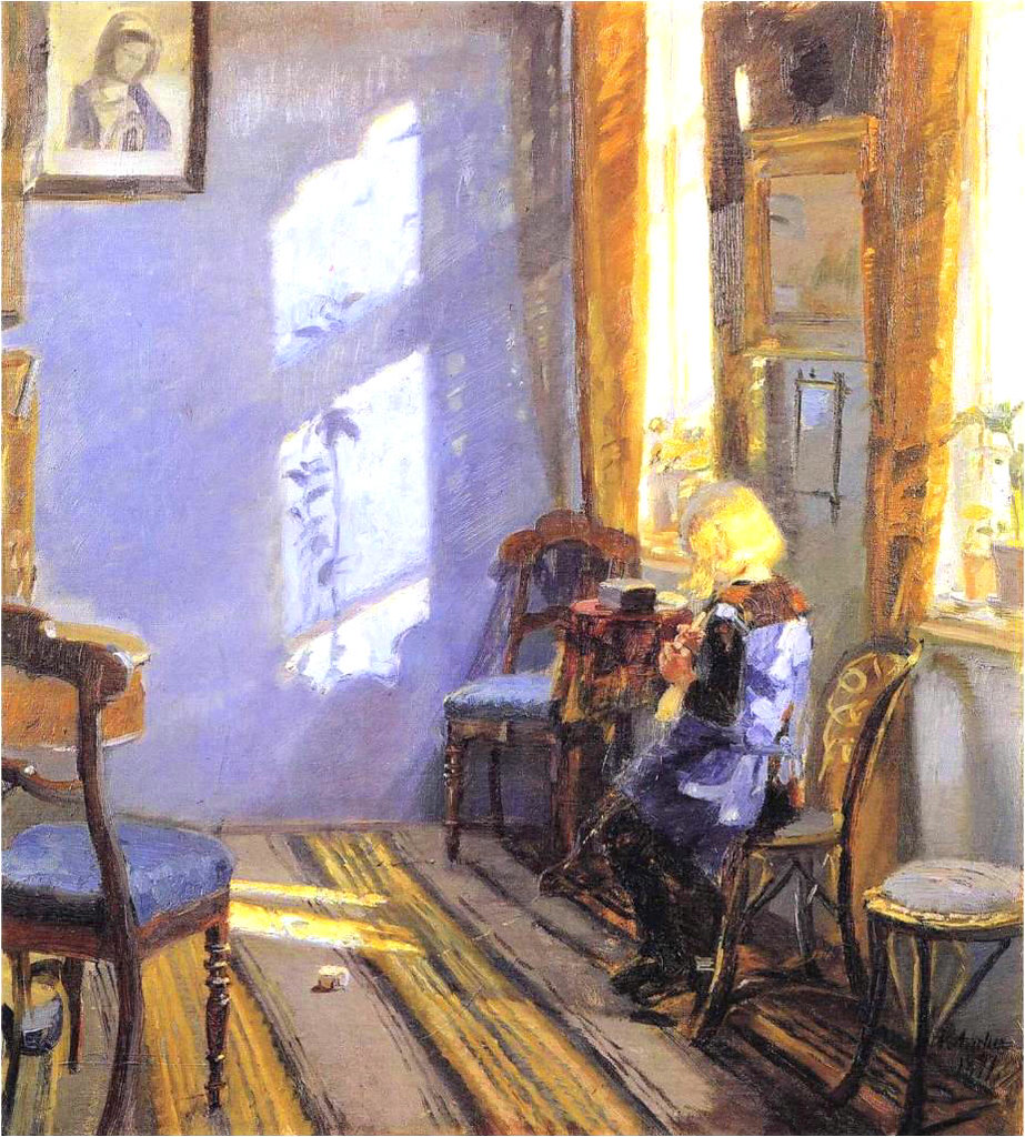 Ancher, Anna   - (Danish, 1859-1935)  - Sunlight in the Blue Room  - 1891