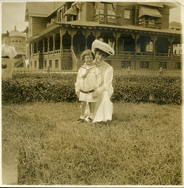 woman with child on lawn, atlantic city, NJ