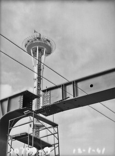 Space Needle and monorail under construction, 1961