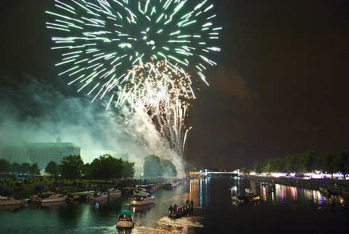 Nottingham Riverside Festival Fireworks From Trent Bridge