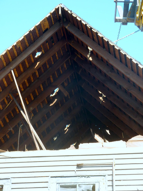 Roof cut and ready for removal