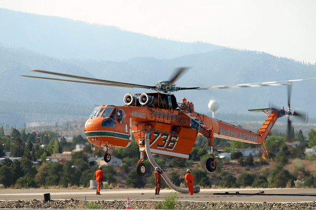 Sky crane chopper used to fight Las Conchas Fire prepares to take off from Los Alamos Friday evening.  Photo by Jeff Berger.