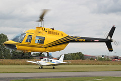 G-ISPH - 1992 build Bell 206B Jet Ranger III, arriving for fuel