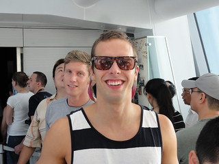 Norway's Alexander Dale Oen and Iceland's Jakob Jóhann Sveinsson on top of the Shanghai World Financial Center supertall skyscraper, on a day off at the Shanghai 2011 World Aquatics Championships.