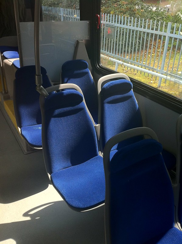 Front-facing seats near the back of a Nova Bus LFX