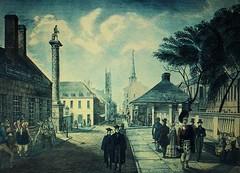 Montréal vers 1845. Rue Notre-Dame >Ouest, depuis Place Jacques Cartier.