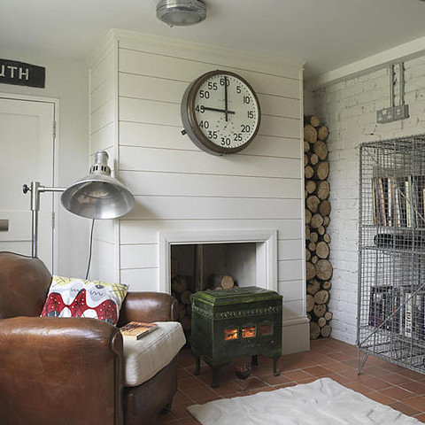 Living Etc. {white vintage rustic industrial modern living room}