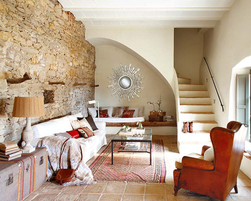 An old renovated spanish farmhouse the style files for Living room stone wall designs