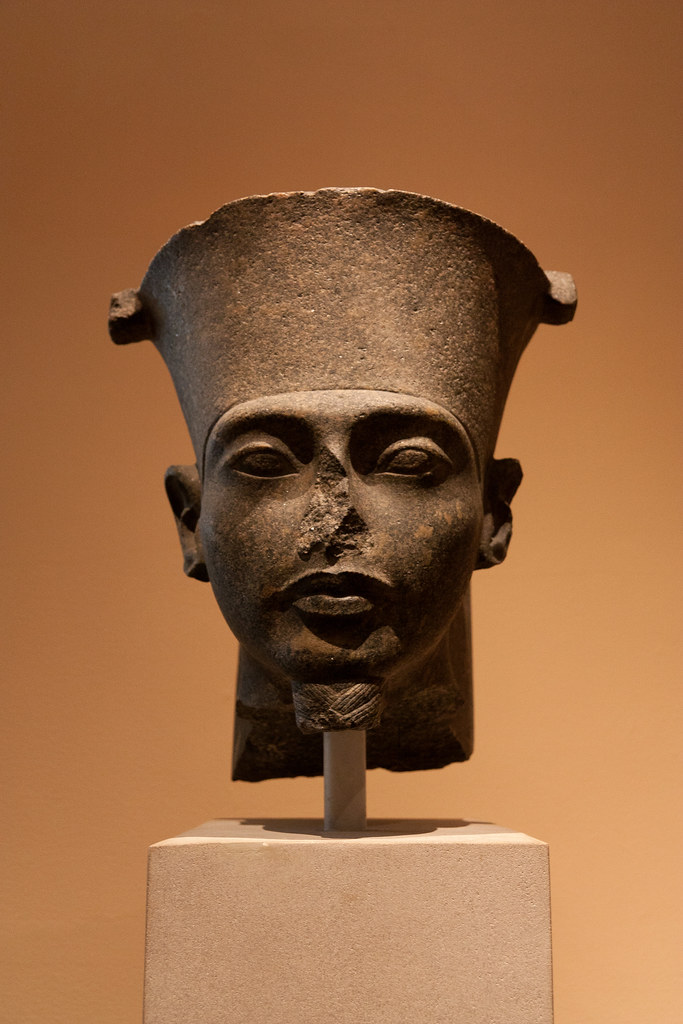 Head of a Colossal Statue of the God Amun New Kingdom, Dynasty 18, reign of Tutankhamun, ca. 1336-1327 BC  Granodiorite  The Metropolitan Museum allows photo shooting providing there is no financial gain.  Please respect their policy