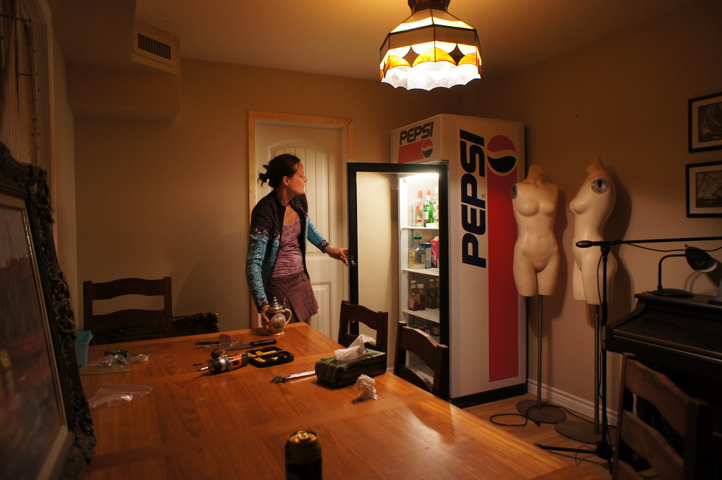 Vintage Pepsi fridge in the dining room. VINTAGE FRIDGE FOR SALE  FOR SALE
