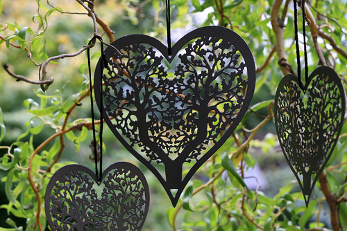 Vintage Grey Hanging Heart Wedding Decorations