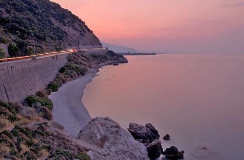 longexposure sunset sea sky cars beach landscape rocks dusk trails lighttrails hdr pentaxkx redhour