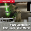 Yoda Lightsaber Wall Mural Panel 200 x 200