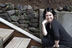 rachel posing with her rock wall