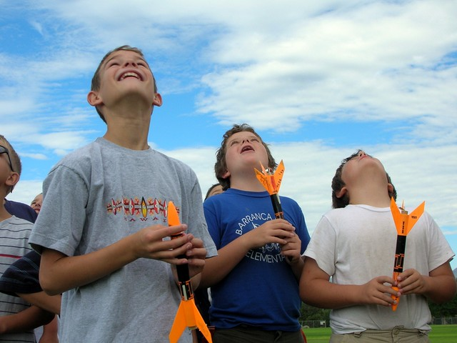Soaring rockets and happy kids at the Bradbury Science Museum's Summer Adventures in Science Rocket Camp.