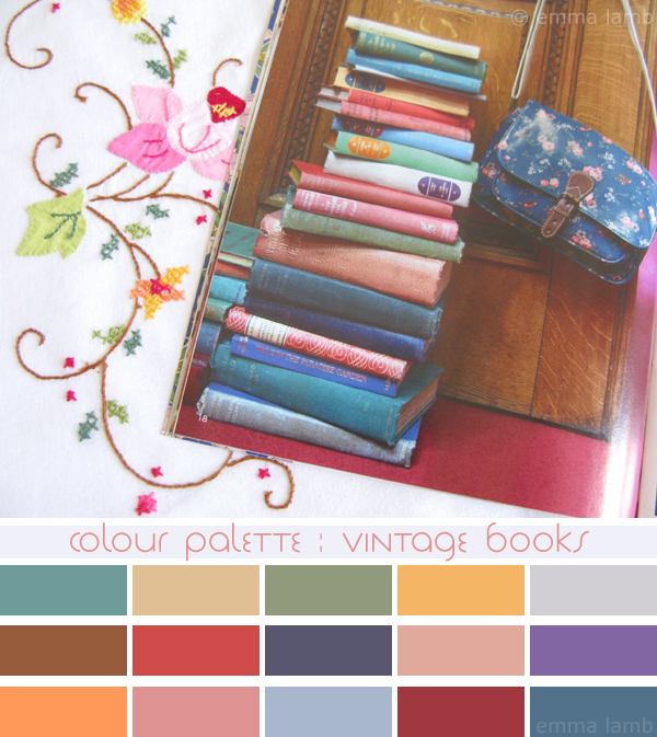 colour palette : vintage books, curated by Emma Lamb / photograph © emma lamb