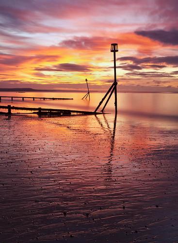 morning sea color colour beach sunrise canon dawn coast devon beacon groyne seadefense