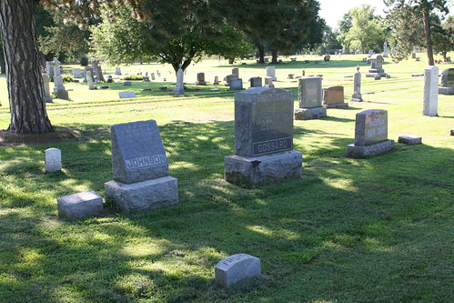 Group of tombstones surrounding JP Johnson