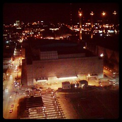 View out our hotel room window. If you're out and looking at the lights on the Marriott downtown you'll see our window on the 19th floor. Thanks Lisa!
