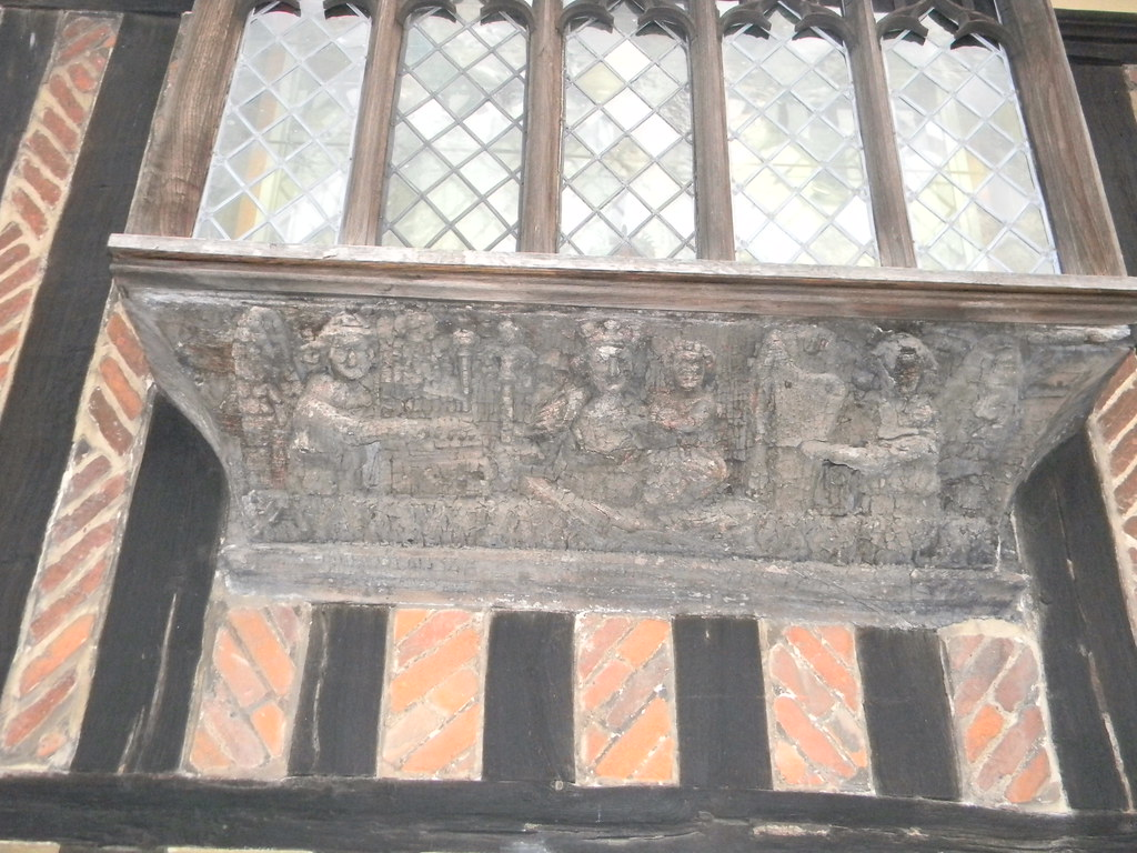 Monk's House, Newport 15th C carving of the coronation of St Mary. Great Chesterford to Newport