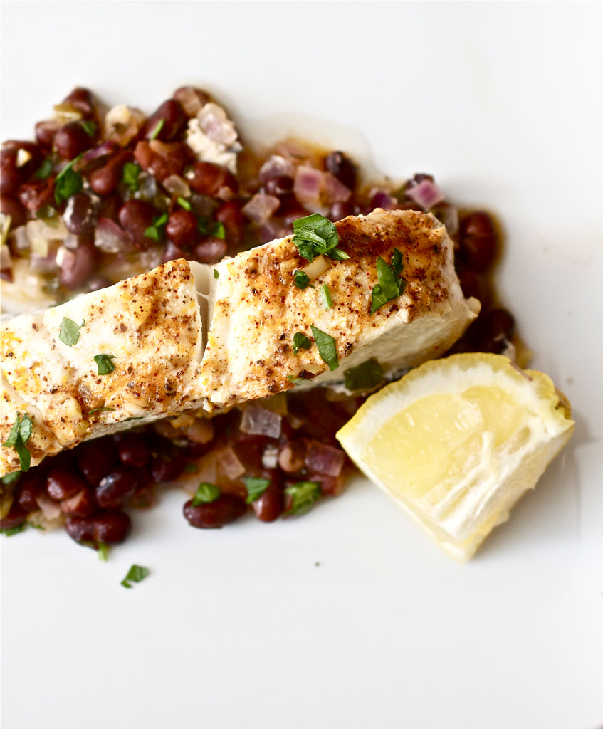 Foil-Baked Halibut with Chile Compound Butter and Black Beans