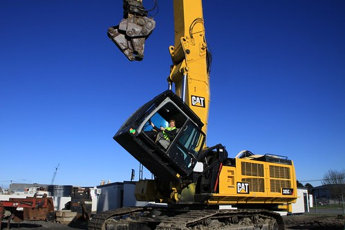 On the Ceres CAT 385 Ultra Reach Demolition Excavator in Christchurch, July 15, 2011.