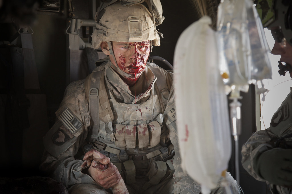 Wounded: US Army Specialist Jacob Moore in Afghanistan