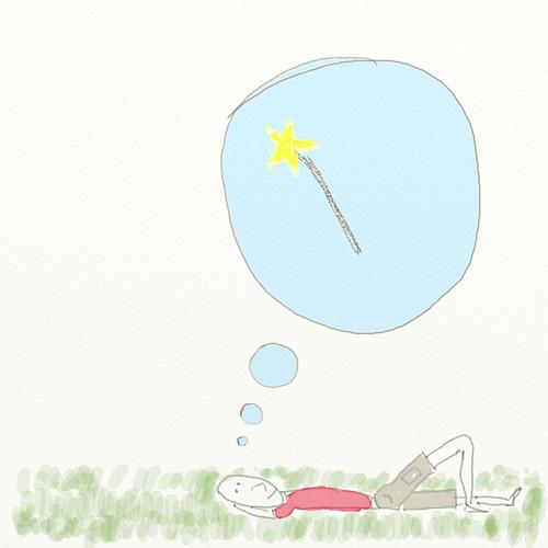 Ilustración: un personaje piensa tumbado sobre la hierba, y se le ocurre una idea, como por arte de magia