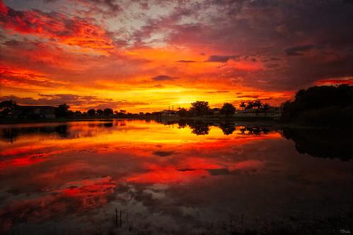 sunset lake dark colorful miami