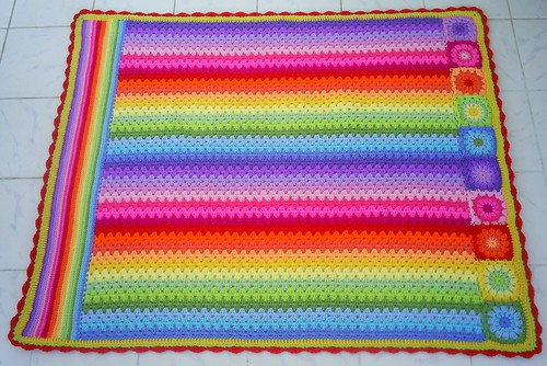 granny stripes lines and circles blanket
