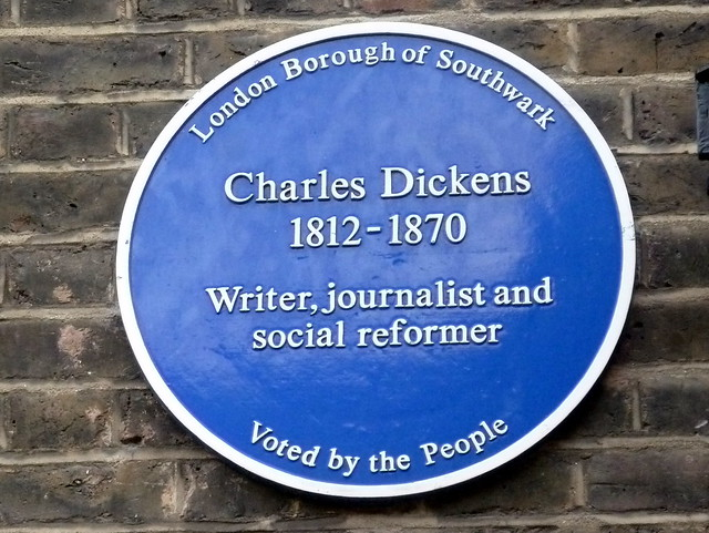 Charles Dickens blue plaque - Charles Dickens 1812-1870 writer, journalist and social reformer