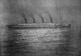 RMS Titanic at Cherbourg : Night Shot