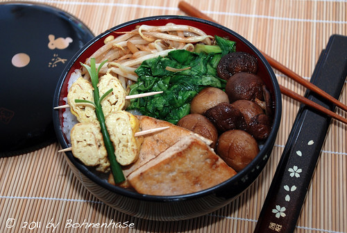 Bento #2: Rice with tofu, mushrooms, bok choy, sprouts & Tamagoyaki